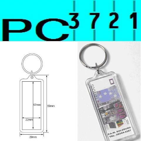 Pack of 10 Blank Rectangular Clear Plastic Keyrings 57 x 22 mm Insert 0A704